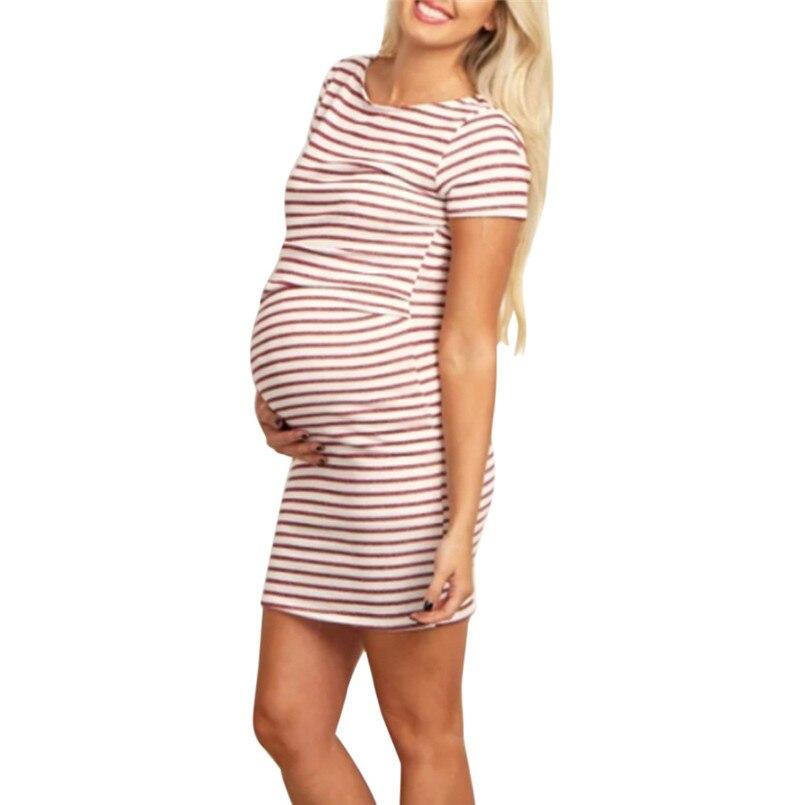 Envsoll 2018 New Arrival maternity dresses Fashion Women Pregnant O-Neck Stripe Short Sleeve Nursing Maternity Dress Vestidos