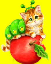 A1327 Diamond Embroidery Home Decor 3DIY Cat and Apple 100% area Resin Tool dril Painting Cross Stitch Fashion Mosaic Needlework a1405 diamond embroidery home decor 3diy strawberry 100