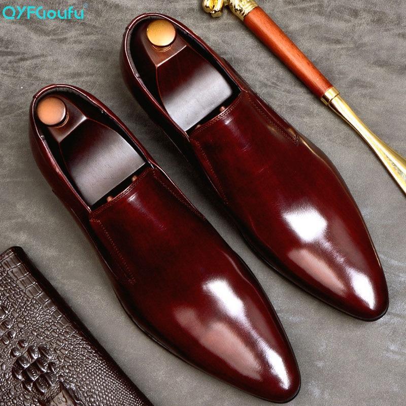 Sapatos de Couro Dedo do pé Festa de Casamento Qyfcioufu Moda Masculina Vestido Genuíno Deslizamento no Apontado Clássico Escritório Trabalho Sapatos Formais Eua 11.5