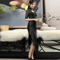 Sexy Lace Embroidery Black Cheongsam Dresses Split Qipao Modern Chinese Dress Fashion Traditional Evening Gown Oriental Women