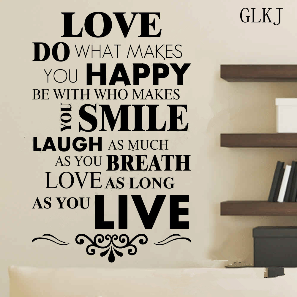 Smile Laugh Love Quotes Motto Happy Live Laugh Love Smile Quote Poem Wall Art Vinyl Decal