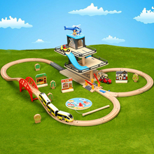 Car Track Lifts Wooden Parking Compatible With T-homas And Brio Train Childrens Inertial Hand Sliding Toys