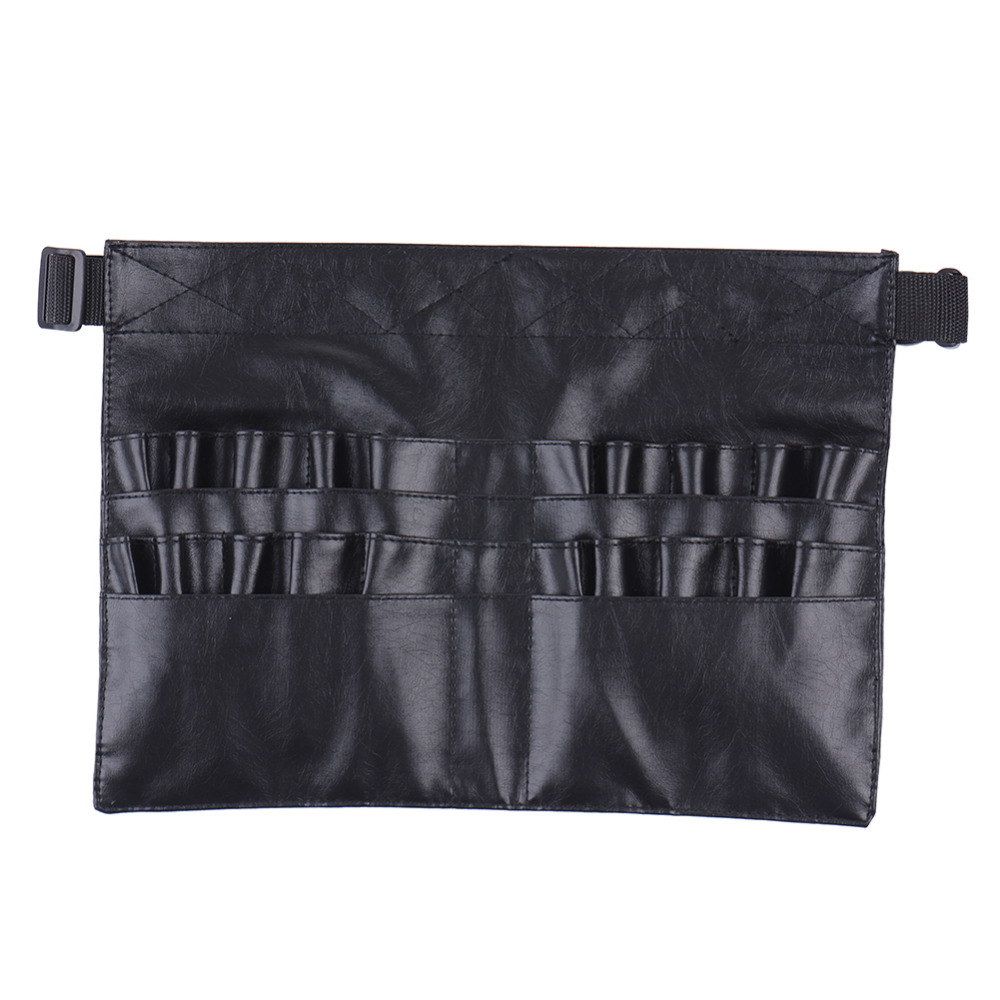 Hot Selling Black Leather Case Professional Cosmetic Makeup Brush Apron Bag Artist Belt Strap Holder Makeup Case