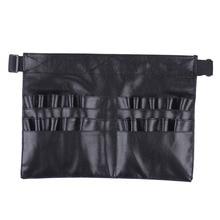 Hot Selling Black leather case Professional Cosmetic Makeup Brush Apron Bag Artist Belt Strap Holder Makeup case