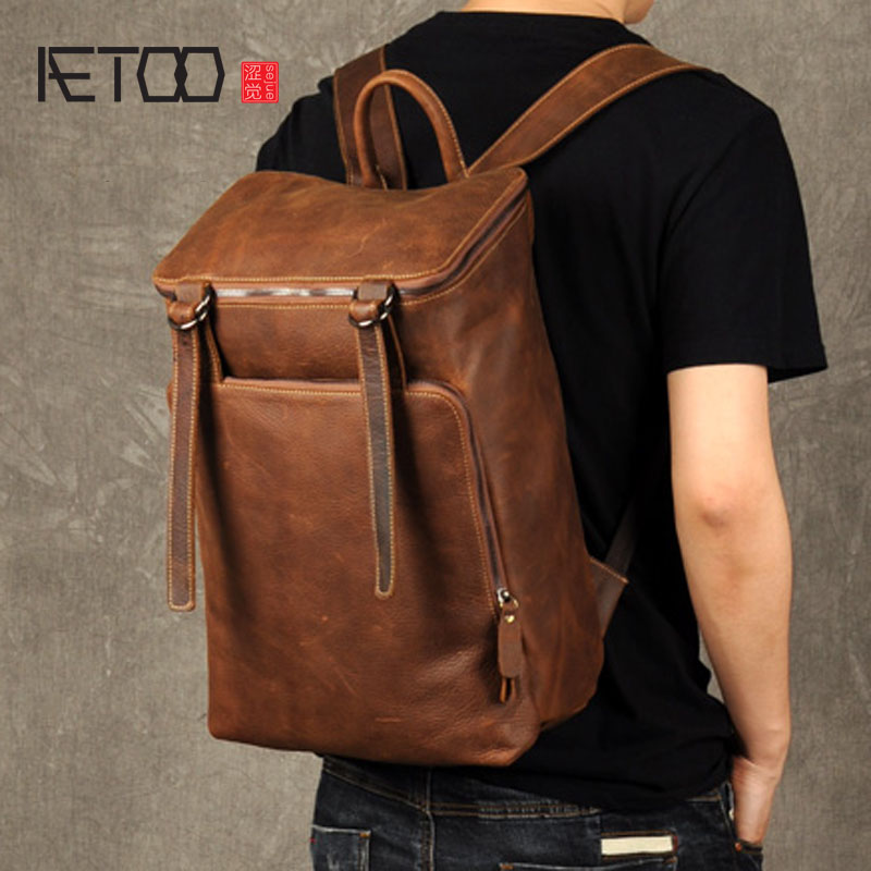 AETOO New head leather, double leather bag, men's leather backpack, fashion trend bag, leisure simple travel bag aetoo retro leatherbackpack bag male backpack fashion trend new leather travel bag
