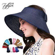 2158a3960a66cb Zgllywr Women Roll Up Striped Ribbed Hat Wide Brim Straw Sun Visor Bowknot  UPF 50+