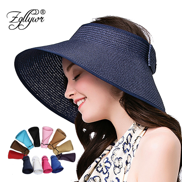 78936e9a673 Zgllywr Women Roll Up Striped Ribbed Hat Wide Brim Straw Sun Visor Bowknot UPF  50+Packable Crushable Summer Beach Cap