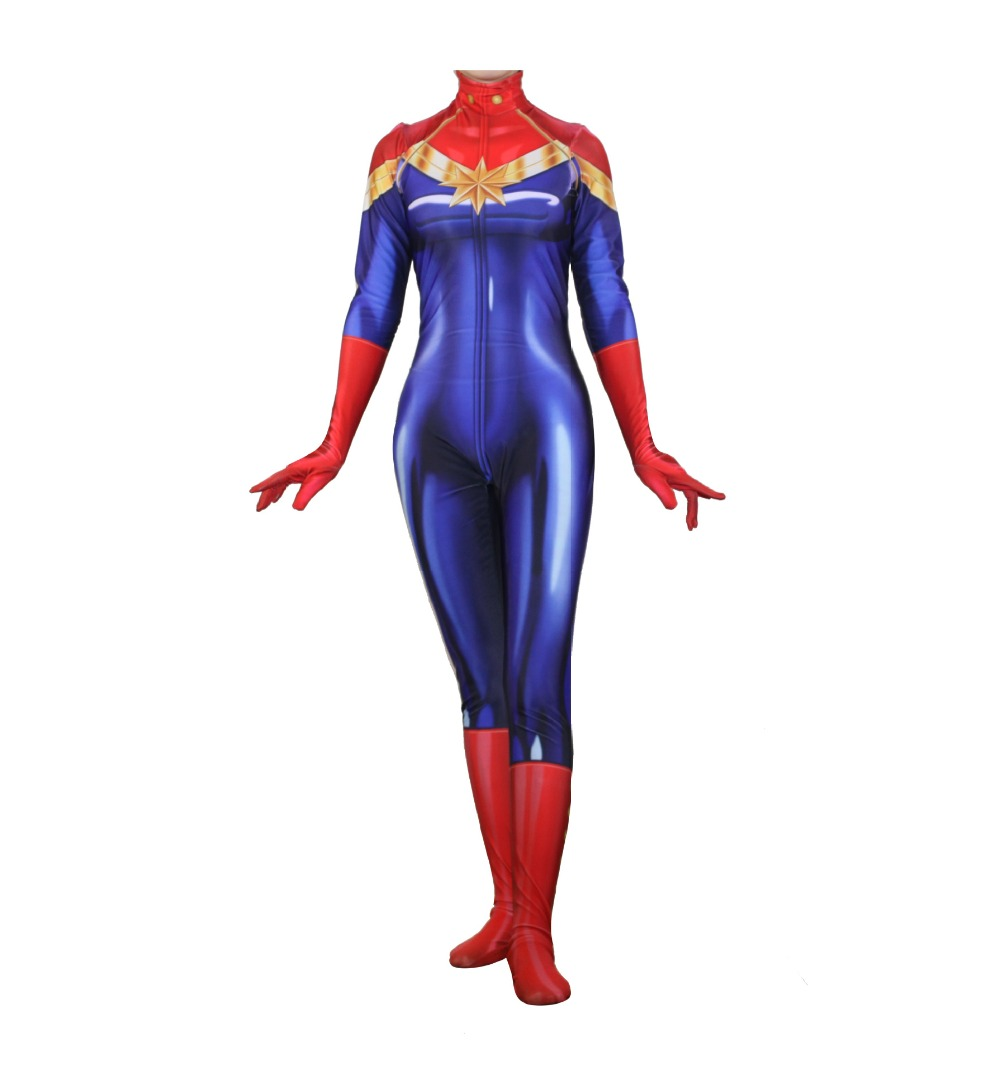 Captain Marvel Ms Marvel Carol Danvers Jumpsuit Catsuit Sexy Cosplay Costumes -5697