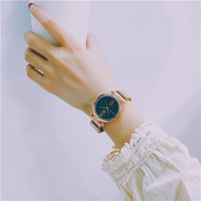 Luxury Rose Gold Women Watches Minimalism Starry sky Magnet Buckle Fashion Casual Female Wristwatch Waterproof Roman Numeral 17