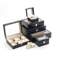 Hot sale PU 10 Grids Leather Watch Box Fashion style for convenient travel storage Jewelry Watch Collector Cases Organizer Box