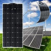 CLAITE 120W 200W 18V Solar Panel Plate Flexible Solar Charger For Car Battery 12V Sunpower Monocrystalline Silicon Cells 250W