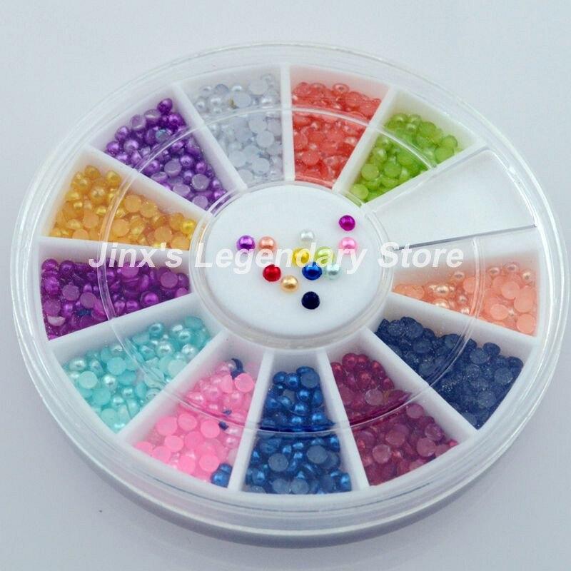 High Quality Super Deal 3D flash pearl 12 colour nail art Decoration DIY wheel JSL8007