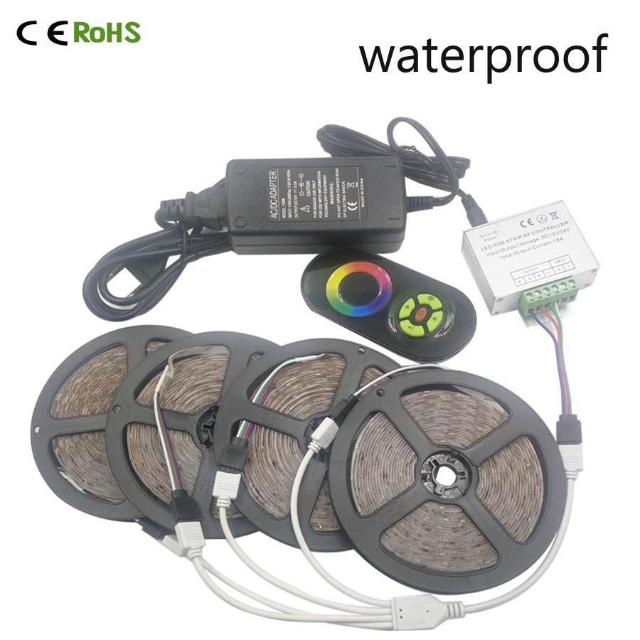 ФОТО 20M 2835 RGB waterproof 54Leds/M SMD Flexible Led Strip+Wireless Touch Remote Controller+18A Amplifier+DC12V Power Supply