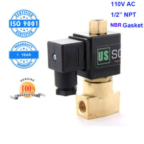 U. S. Solid 1/2 Brass Electric Solenoid Valve 110 V AC NPT Thread Normally Open Air Water NBR CE ISO Certificated u s solid 1 brass electric solenoid valve 110 v ac g thread normally closed for air water diesel iso certificated