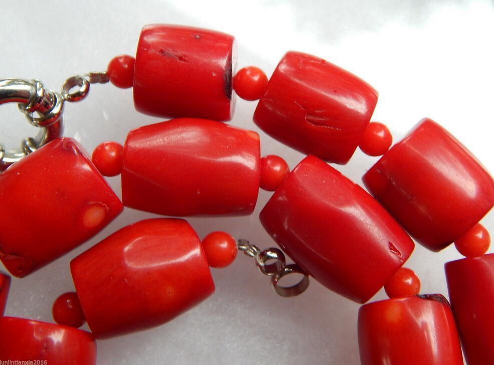 New 12X14MM Vintage Estate Chunky Red Coral Barrel Bead Necklace 18''