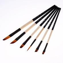 цена на 6Pcs/Set Hige Quality Gouache Watercolor Oil Paint Brush Nylon Hair Wooden Handle Painting Pens Set Acrylics Art Supplies