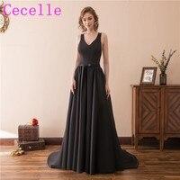 Simple Black Long Evening Dresses 2018 Sexy Open Back Elegant A Line Satin Fashion Women Formal