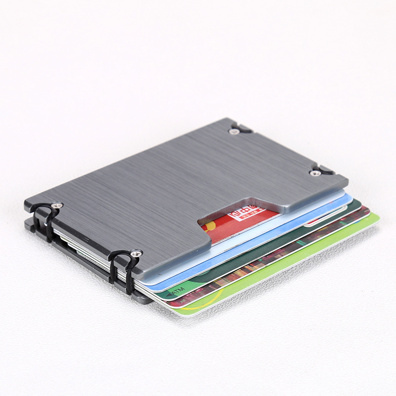 Купить с кэшбэком QOONG New Arrival Metal Credit Card ID Holder Fashion Mini Money Holder With RFID Anti-chief Wallet Credit Card Case KH1-019H