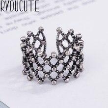 2019 Bijoux kolor srebrny duże dziury pierścienie dla kobiet prezent panie regulowany rozmiar antyczny pierścionek Joyas De Plata Anillos