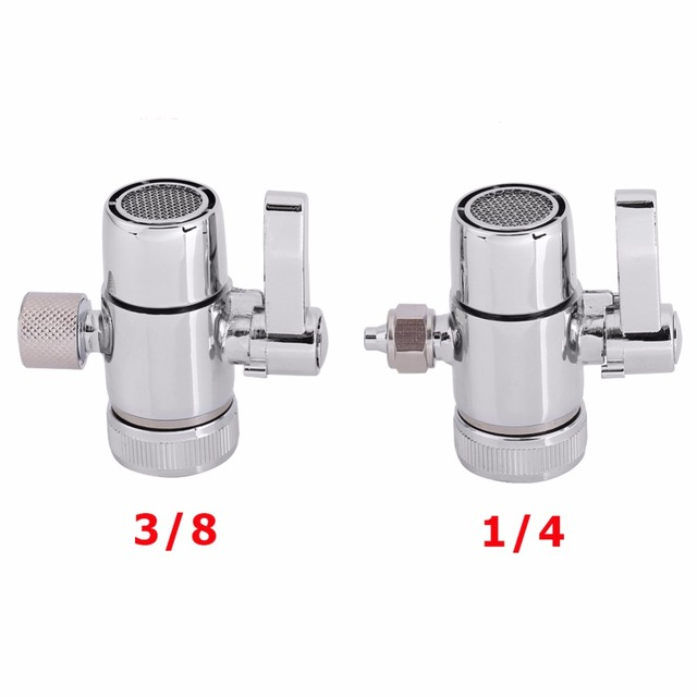 Sliver Faucet Adapter Diverter Valve Counter Top Water Filter 1/4, 3 ...