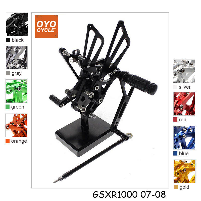 CNC Adjustable Rearsets Foot Rest Foot Pegs Foot Rests For Suzuki GSXR1000 K7 K8 2007 2008 GSXR 1000 CNC Adjustable Rearsets Foot Rest Foot Pegs Foot Rests For Suzuki GSXR1000 K7 K8 2007 2008 GSXR 1000