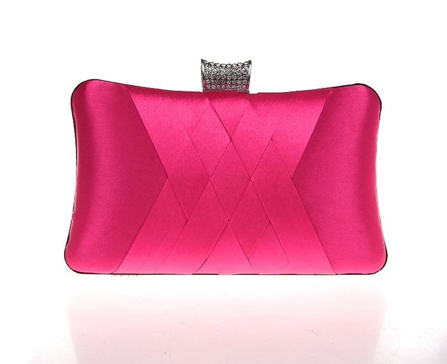 Hot Pink Chinese Women's Satin Wedding Evening Bag Clutch handbag Bridal Party Purse Makeup Bag Free Shipping 7395-H