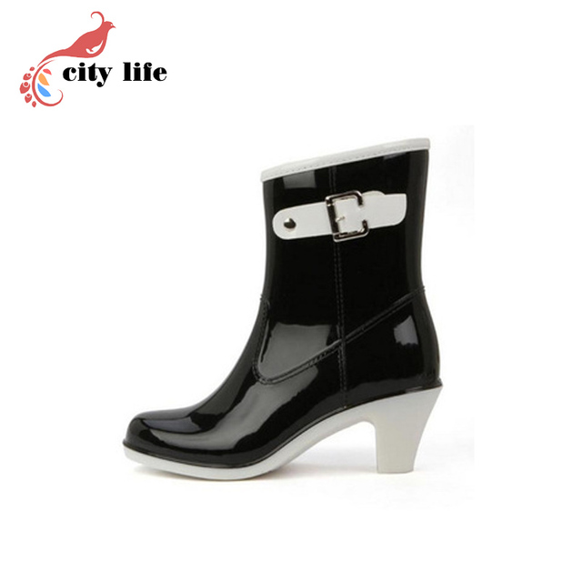 3.28 Anniversary Sale Price Fashion Elegant High Female Boots Buckle Ankle Boots Rainboots Women Rain Boots Botas Femininas 2017