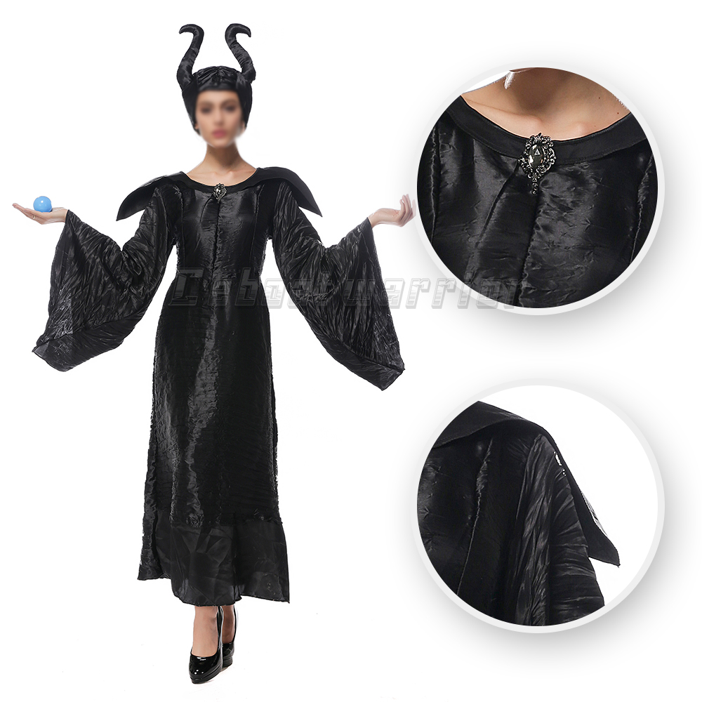 Movie Maleficent cosplay Costume with horn hat Dress sleeping curse Witch Halloween Party Black Magic for adults