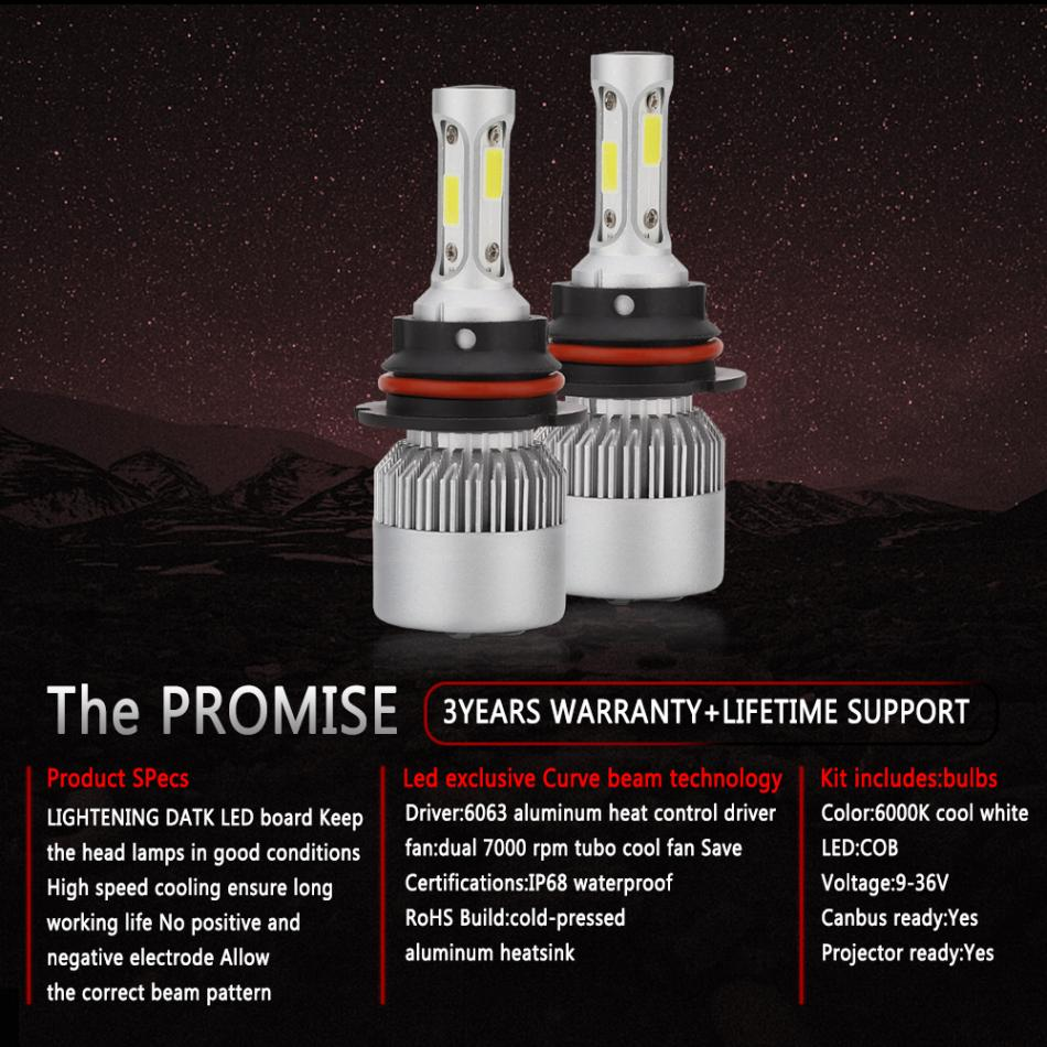 2pcs 9005 HB3 H10 S2 72W 8000LM 6000K White Light LED Car Auto Headlight Hi or Lo Beam Head Lamp for Car Vehicles in Car Headlight Bulbs LED from Automobiles Motorcycles