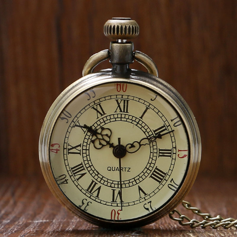 цена на Vintage Simple Style Steampunk Beige Dial Roman Numbers Small Pocket Watch Necklace Pendant with Chain Reloj De Bolsillo P96