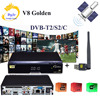 V8 Golden DVB S2 DVB T2 DVB C Support Powervu IPTV Cccam Cline 1 Usb Wifi