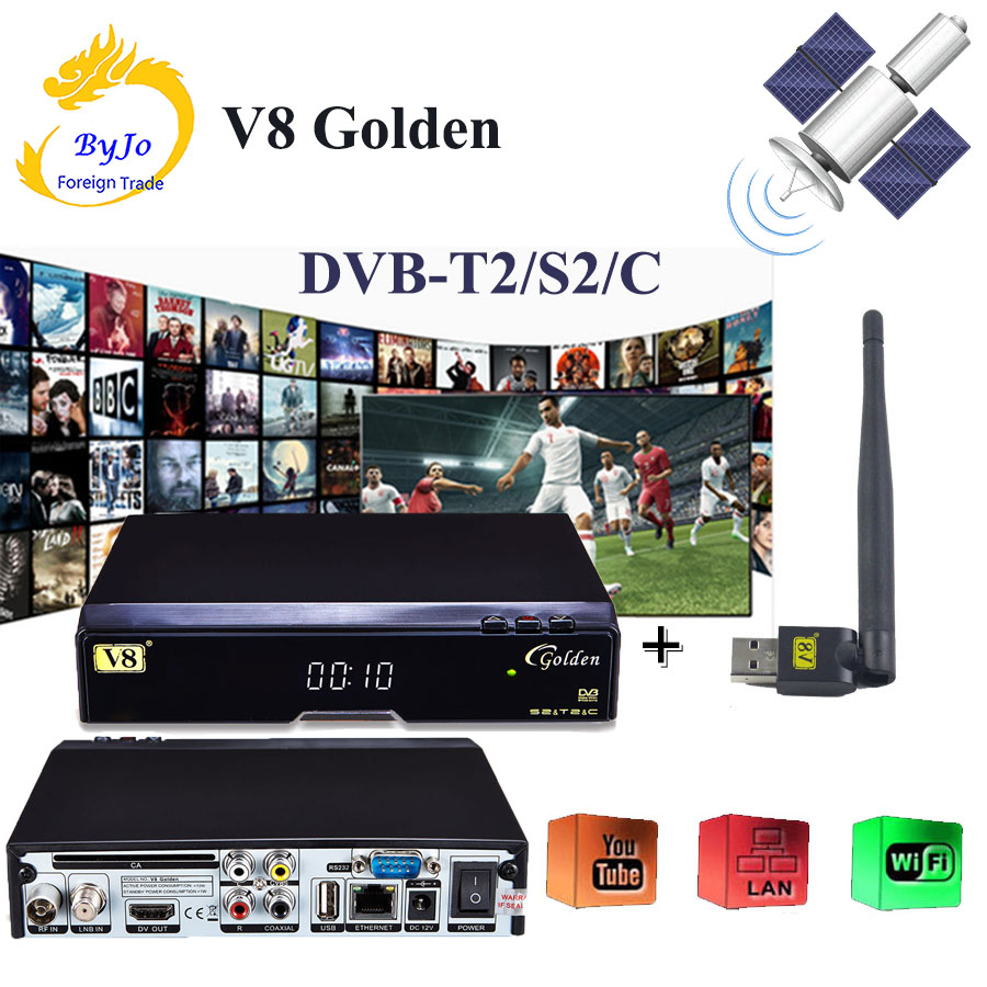 V8 Golden DVB-S2 DVB-T2 DVB-C Support Powervu IPTV Cccam Cline+1 usb wifi DVB-T2/S2/C Cable Satellite Receiver with USB WIFI телеприставка qhisp iptv dvb t2 mpeg4 hd 40 car dvb t2