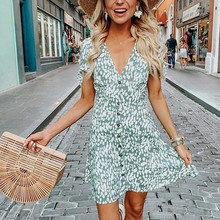 Women Summer Casual Sexy Mini Evening Party Dress Button V Neck Short Sleeve Printed Pastoral Style Chic Fresh