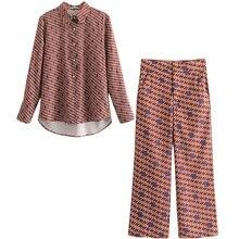 Комплект, женская рубашка с принтом, высокая талия, повседневные Широкие штаны, два предмета, весна, новая темпераментная Модная элегантная женская одежда