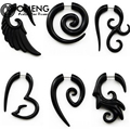 OMENG 1 Pair Black Acrylic Fake Cheater Twist Spiral Ear Taper Gauges Expanders Earring Tunnel Plugs Body Jewelry OCC014