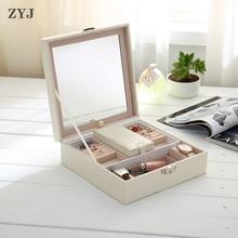 ZYJ Роскошные ювелирные изделия ящик для хранения съемная косметичка Сумка чемодан с зеркалом Организатор контейнерная упаковка