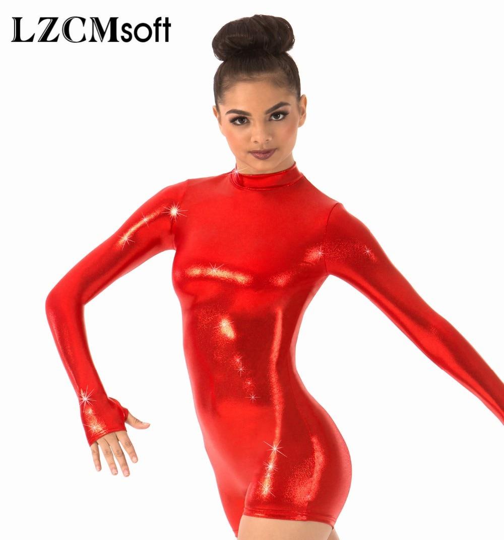 LZCMsoft Shiny Metallic Long Sleeve Biketards One Piece Wet Look Bodysuits Mock Neck Women Gymnastics Stage Performance Costumes
