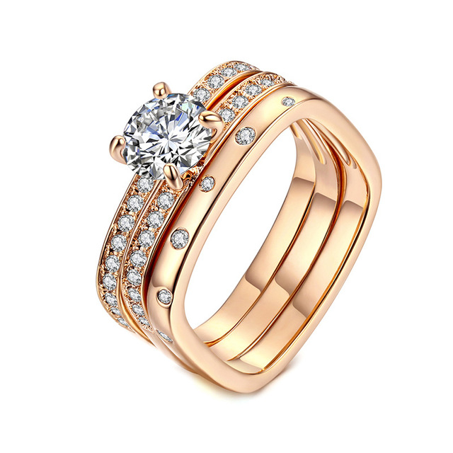 Mocai Delicate Square Finger Ring Three Set Layer Zircon Wedding Rings Rose Gold Silver Color Jewelry