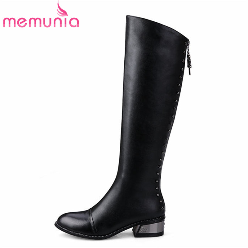 MEMUNIA 2018 new arrive platform shoes woman winter boots keep warm pointed toe knee high boots down PU+genuine leather boots