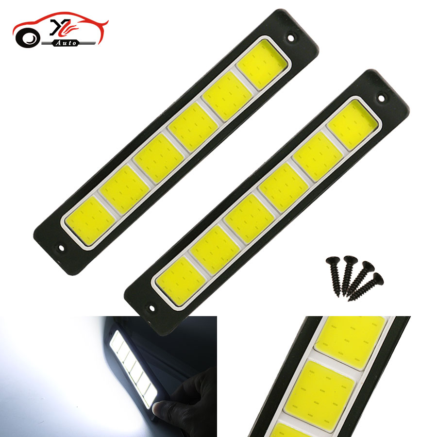Car Styling Fog Lights Daytime Running Lights Car Driving Super Bright Flexible Waterproof COB LED DRL Straight White 190x35mm
