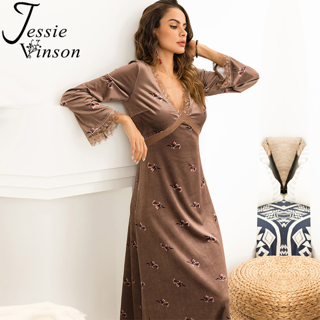 548e37daa850fe Jessie Vinson V-neck Long Sleeve Lace Splicing Floral Print Velvet Long  Dress Women Plus Size Velour Maxi Dresses for Party