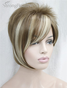 Image 5 - 強力な美少女合成天然ウェーブ短辺部ブロンドかつら前髪とスマートヘアスタイル若い女性のためのコスプレかつら
