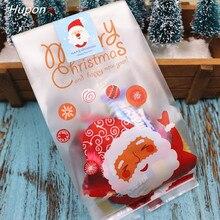 50 قطعة سانتا عيد ميلاد سعيد هدية الكريسماس أكياس البلاستيك التعبئة حقيبة هدايا لحفلات عيد الميلاد الديكور bolsas دي ريجالو navidad 2020