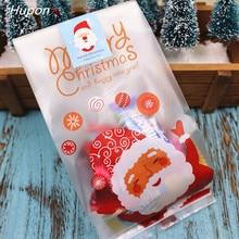 50pcs Santa Merry Christmas Gift Bags Plastic Packing Bag Presents for Christmas Party Decoration bolsas de regalo navidad 2020