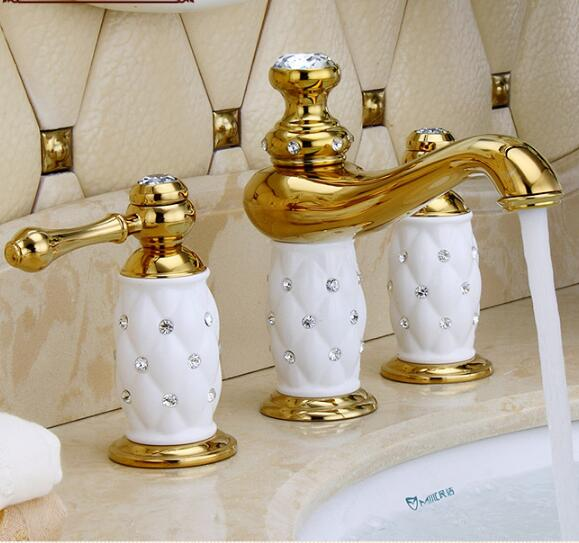 New Arrivals Luxury Basin Faucet 8 Inch Water Tap Br Ceramic Diamond Bathroom Gold Widespread Sink In Faucets From Home