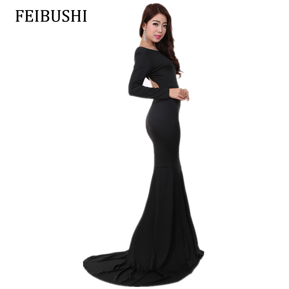 FEIBUSHI Mermaid Dresses Women Autumn Elegant Long Sleeve Sexy Solid Black Wedding Casual Sheath Party Floor Length Maxi Dresses