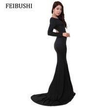 2bcc01383236c FEIBUSHI Mermaid Elbiseler Kadın Sonbahar Zarif Uzun Kollu Seksi Katı Siyah  Düğün Casual Kılıf Parti Kat Uzunluk Maxi Elbiseler