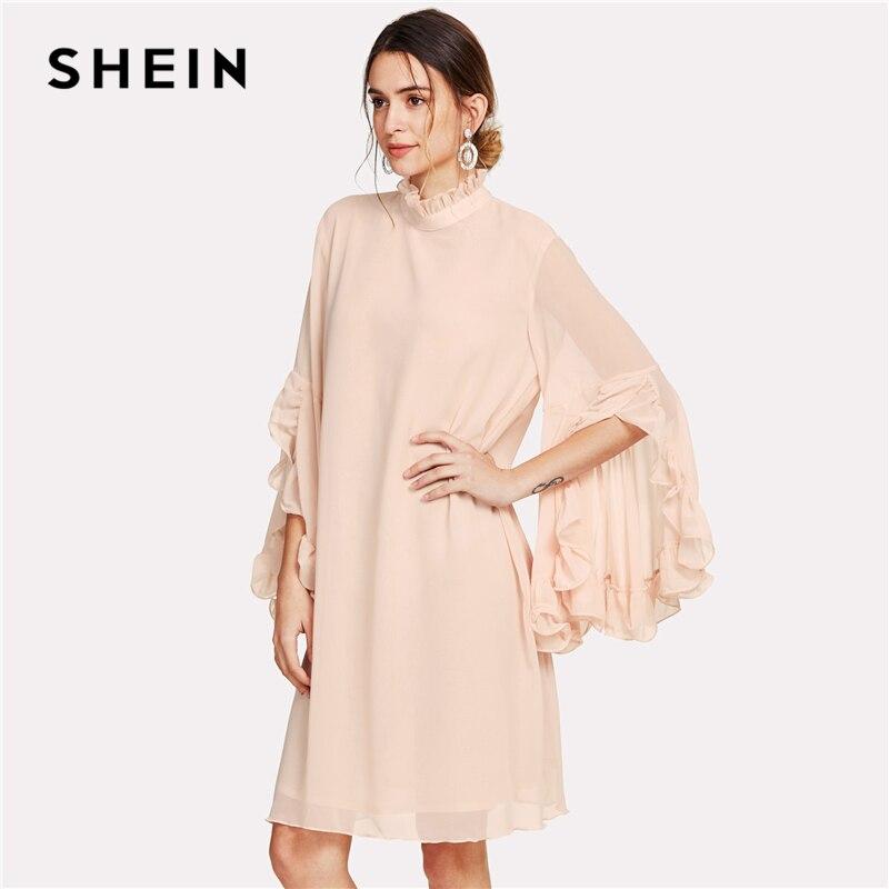 8ae8d61f01e Aliexpress.com   Buy SHEIN Frill Sleeve And Cuff Flowy Dress 2018 Summer  Pink Stand Collar Dress Women Knee Length Casual Chiffon elegant Dress from  ...
