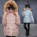 Double Breasted Girl Warm Cotton Down Coat Jacket Flower Print Fashion Children's Trench Coat Fur Hood Thick Parka Outerwear