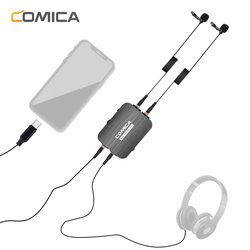 CoMica Dual Head Omni-directional Lavalier Microphone Detachable Clip-on Mic Support Power Charg Type-C Computer & 3.5mm phone